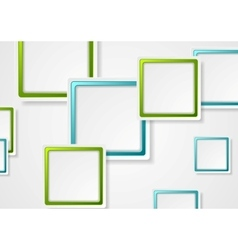 Bright green and blue geometric squares design vector image vector image