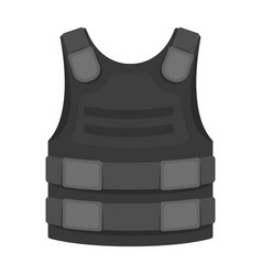 bulletproof vest icon in monochrome style isolated vector image