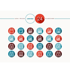 Calendar outline flat icons set vector image