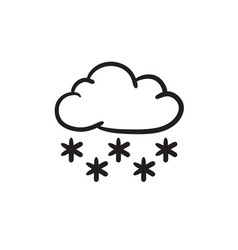 Cloud with snow sketch icon vector