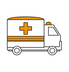 Color silhouette image cartoon ambulance truck vector
