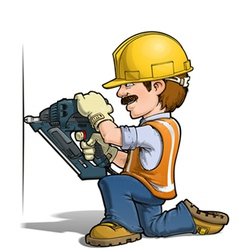 Construction workers nailling vector