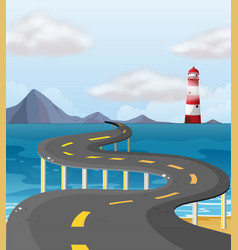 Curve road across the ocean vector