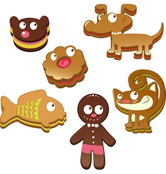Cute christmas gingerbread cookies isolated on vector