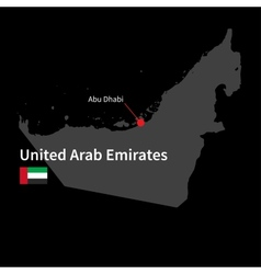 Detailed map of United Arab Emirates and capital vector image
