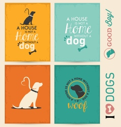 Dog typographic background set vector