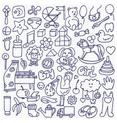 Doodle baby objects vector