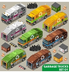 Garbage truck 01 vehicle isometric vector