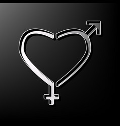 Gender signs in heart shape gray 3d vector