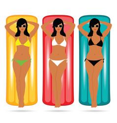 girl in bikini figure on mattress set vector image vector image