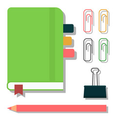 green notebook isolated office equipment note vector image