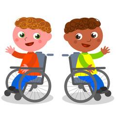 Happy children on wheelchair vector
