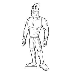 Healthy man athletic muscular sketch vector
