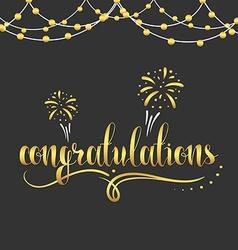 Inscription Congratulations in gold color garland vector image