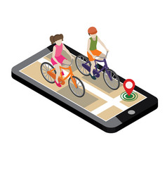 isometric location mobile geo tracking boy and vector image