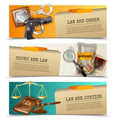Law justice flat horizontals banners set vector