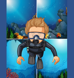 man diving underwater and ocean backgrounds vector image vector image