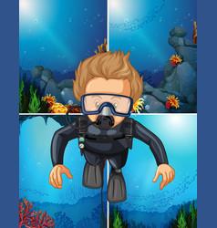 Man diving underwater and ocean backgrounds vector