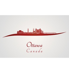 Ottawa V2 skyline in red vector image vector image
