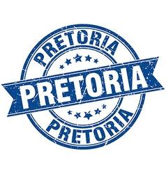 Pretoria blue round grunge vintage ribbon stamp vector