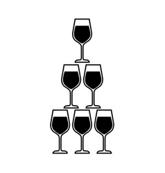 Pyramid of glass flute goblets alcoholic champagne vector