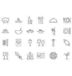 Restaurant food black icons set vector image vector image