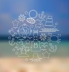 Set icons on seascape background vector