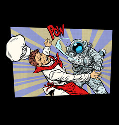 Space food astronaut fight with the chef vector