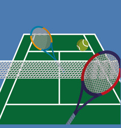 Tennis court with rackets and ball to play vector