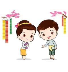 Thai traditional welcome sawasdee vector