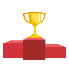 trophy cup with podium isolated icon vector image