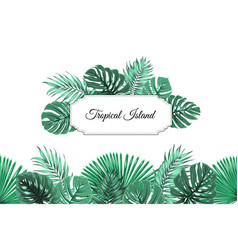 tropical jungle island border frame header footer vector image vector image
