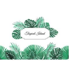 Tropical jungle island border frame header footer vector