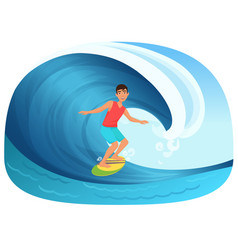 young man riding a surfboard in the wave vector image vector image