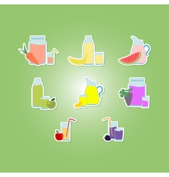 Color set with fruit juice icons vector