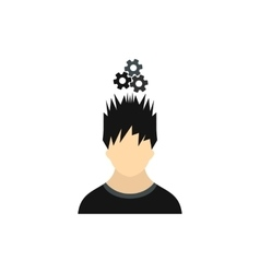 Man with metal gears over his head icon flat style vector