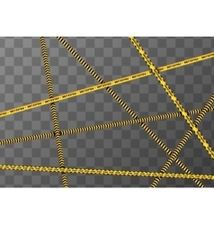 Different yellow and black caution tapes on vector