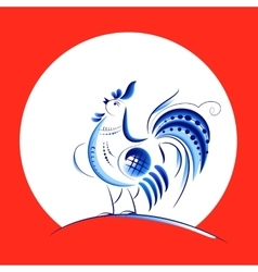 Blue New Year Rooster vector image