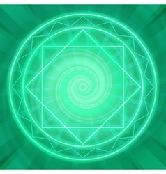 Magic circle sacred geometry glowing neon lines vector