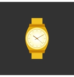 Golden wrist watch on black field vector