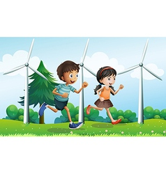 A girl and a boy running in the hill with vector image