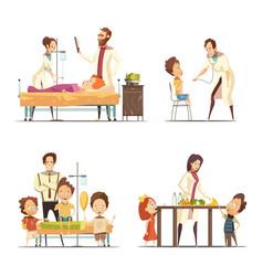 childrens hospital 4 cartoon icons set vector image