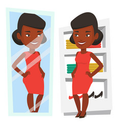 woman trying on clothes in dressing room vector image