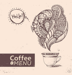 cup of coffee menu design vector image