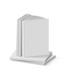 Stack of blank gray books on white background vector
