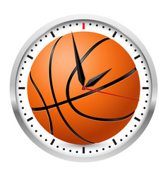 Wall clock basketball style on white background vector