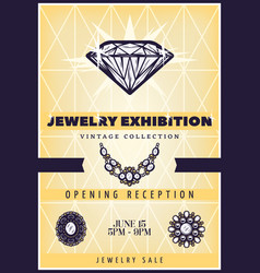 Vintage beautiful jewelry exhibition poster vector