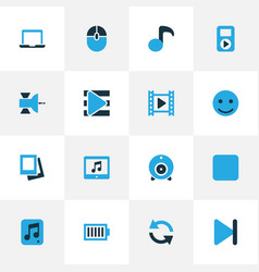 Media colorful icons set collection of full vector