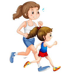 Mother and daughter running vector