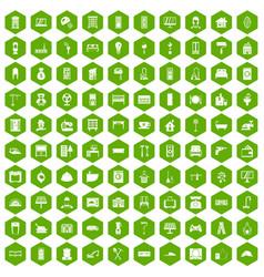 100 comfortable house icons hexagon green vector